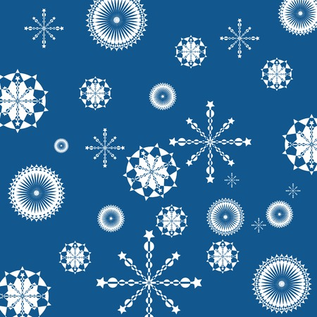 Abstract geometric snowflakes on clear blue background Stock Vector - 5787333