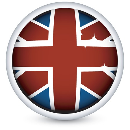 British flag button, isolated on white background Stock Vector - 5854948