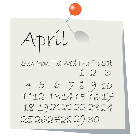 Calendar forApril 2010, handwriting on paper with holding pin Vector