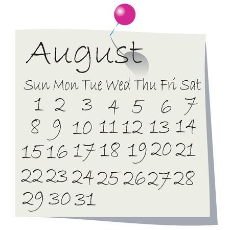 Calendar for August 2010, handwriting on paper with holding pin Vector