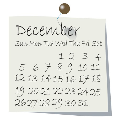 Calendar for December 2010, handwriting on paper with holding pin