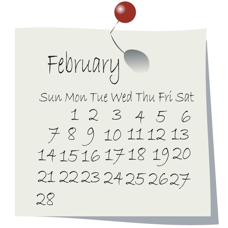 Calendar for February 2010, handwriting on paper with holding pin Stock Vector - 5855122