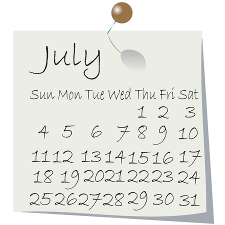 Calendar for July 2010, handwriting on paper with holding pin