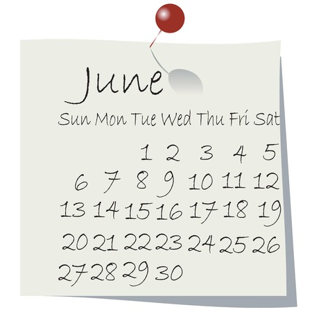 Calendar for June 2010, handwriting on paper with holding pin Vector