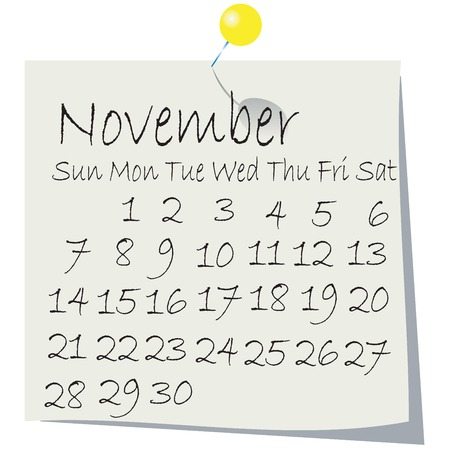 Calendar for November 2010, handwriting on paper with holding pin Vector