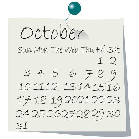 Calendar for  October 2010, handwriting on paper with holding pin Vector