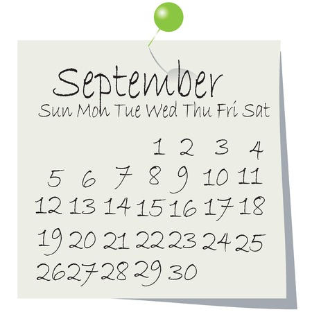 Calendar for September 2010, handwriting on paper with holding pin Vector