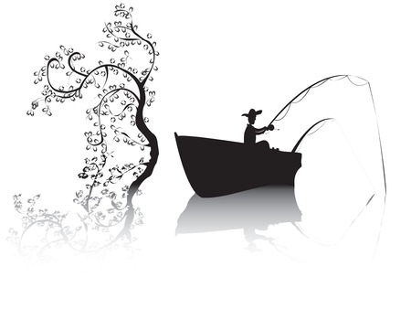 fisher: Fisher on a lake, black and white scene of a fisher sailing and fishing on a lake Illustration