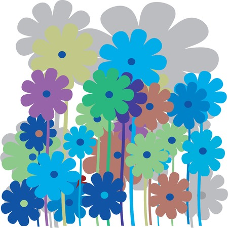 beautifull: Flower retro card in various colors Illustration