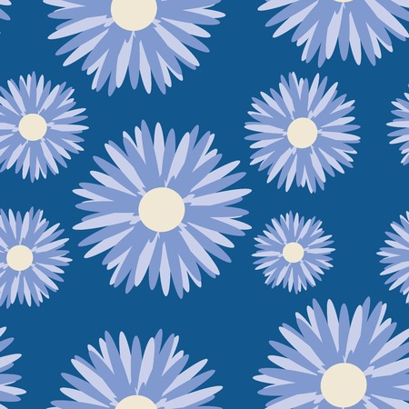 copy paste: Moon flowers, daisy pattern illustration on blue background, easy to copy, paste, edit illustration