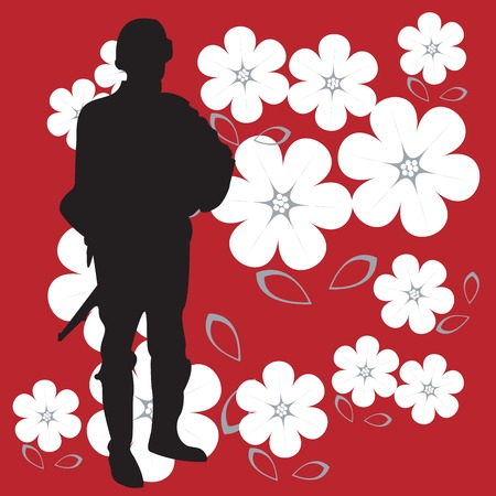 Soldier silhouette on bright red and powerful background with flowers Vector