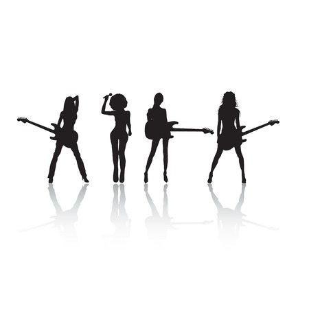 Rock stars silhouettes on white, with reflection