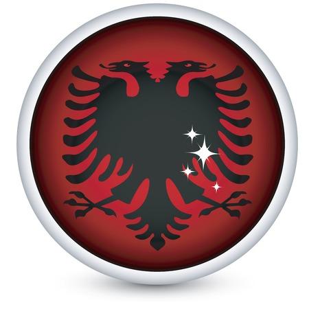 albania: Albania sphere flag button, isolated on white