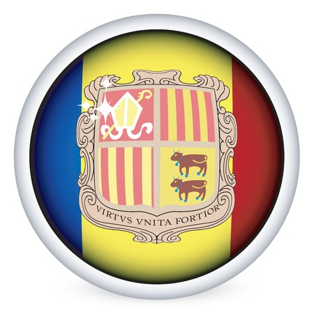 andorra: Andorra sphere flag button, isolated on white Illustration