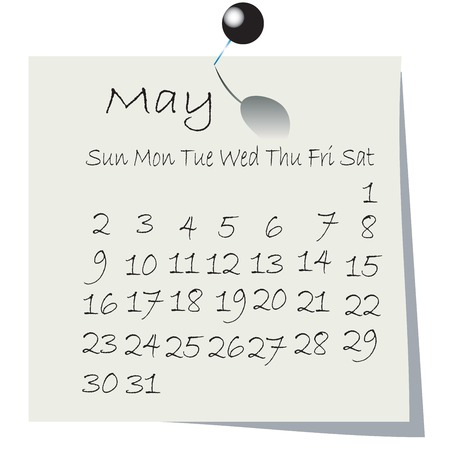 Calendar for May 2010, handwriting on paper with holding pin Vector