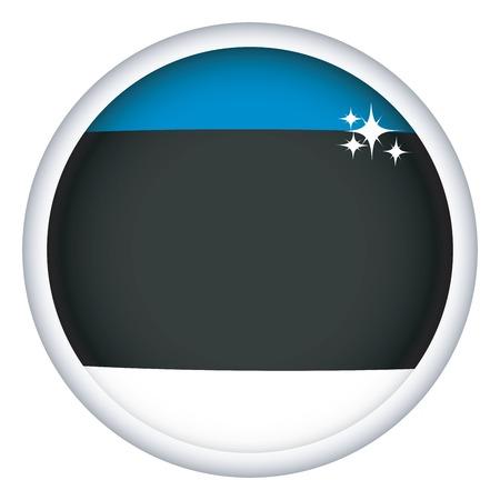estonian: Estonian sphere flag button, isolated on white