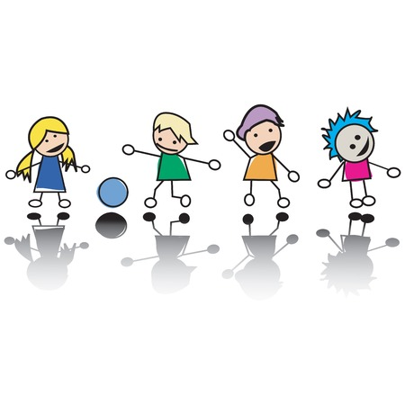 Happy little children at play, vector illustration Vector