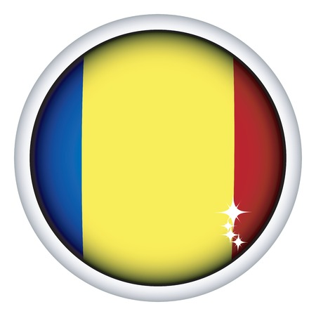 romanian: Romanian sphere flag button, isolated vector on white