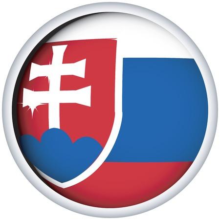 slovakian: Slovakian sphere flag button, isolated vector on white Illustration