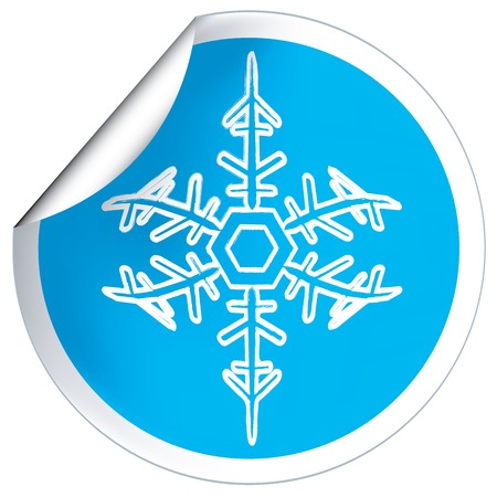 Round blue label badge with snowflakes  Vector