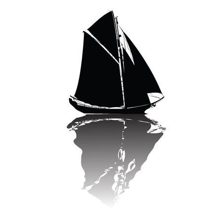 plundering: Zwarte schip in vector formaat