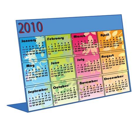 calendario da tavolo: illustrazione di un calendario di scrivania per il 2010