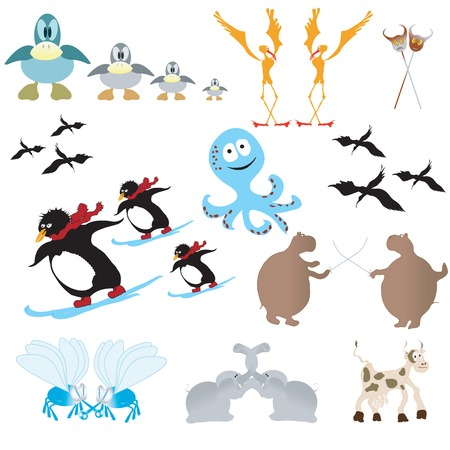 Funny animals, cartoon collection Vector