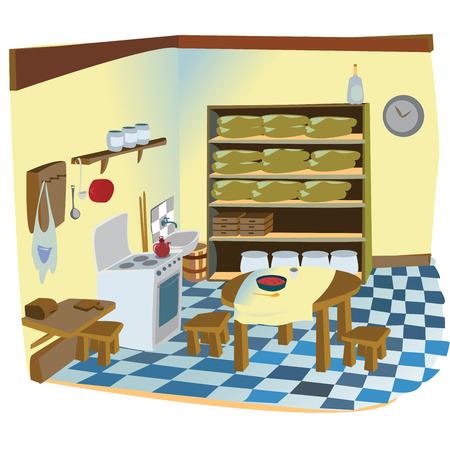 sgabelli: Cucina della nonna, illustrazione di una vecchia cucina rustica