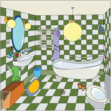 interior designer: cozy bathroom, cartoon illustration, easy to edit vector with isolated and grouped objects