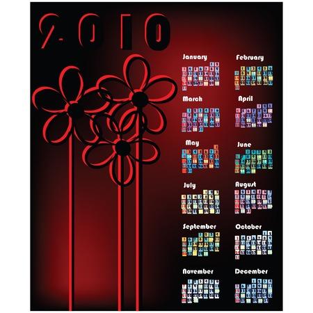almanacs: Elgant calendar for 2010, art illustration background