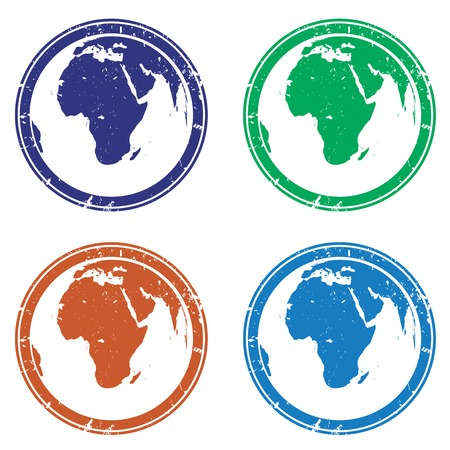 Collection of stamps with earth globe in various colors Vector