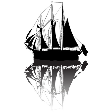 boat race: Sailing boat silhouette view from a side