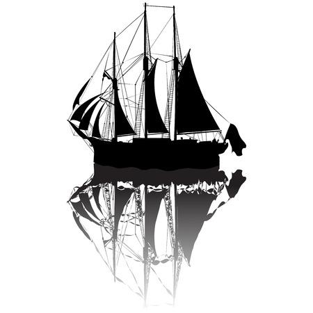 deportes nauticos: Vista de la silueta de bote de vela desde un lado Vectores