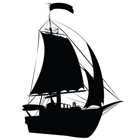 vecchia nave: Piccola vela nave siluetta isolato su sfondo bianco, prospettiva disegnare design  Vettoriali