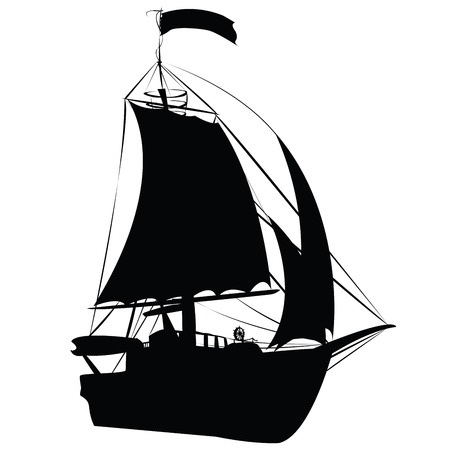 tourist: Small sailing ship silhouette isolated on white background, perspective draw design Illustration