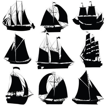 yacht isolated: Colecci�n de siluetas de barcos de vela, aislado objetos sobre fondo blanco Vectores