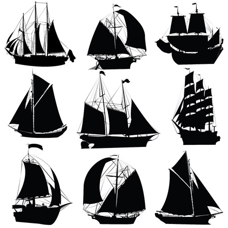 deportes nauticos: Colecci�n de siluetas de barcos de vela, aislado objetos sobre fondo blanco Vectores
