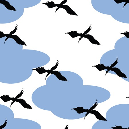 Birds and clouds pattern, easy to use, grouped and isolated objects for duplicate print Stock Vector - 6057614