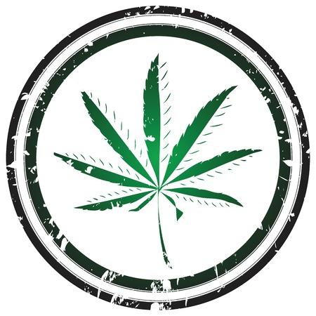 cannabis: Grunge-Stempel mit einem Blatt von Cannabis Marihuana