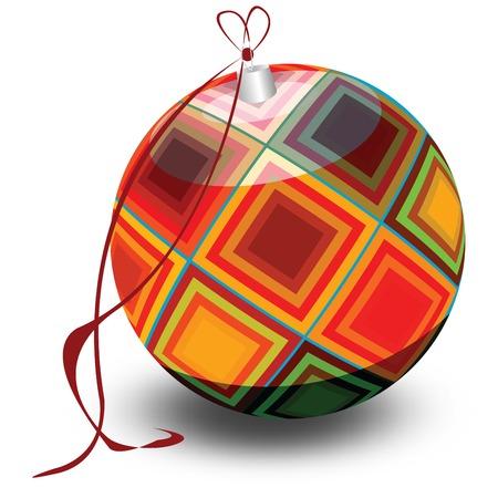 Retro Christmas tree globe, isolated on white background