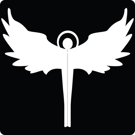 to ascend: Angel silhouette icon for web, art illustration Illustration