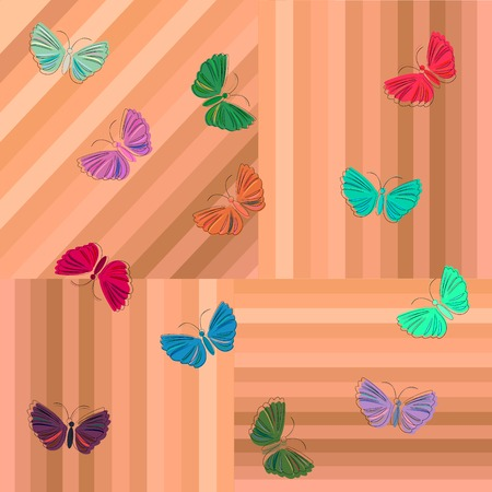 Butterfly on wooden texture, background art illustration Stock Vector - 6087136