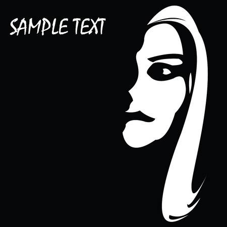 Girl face with sample text on a side, background illustration Vector