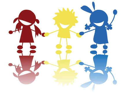 singing silhouette: Colored children silhouettes holding hands Illustration