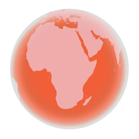 Planet Earth in bright red tones, isolated on white background Stock Photo - 6107458