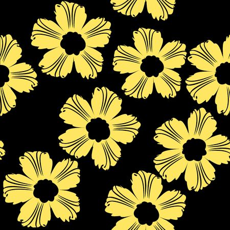Yellow flowers pattern on black background stock photo picture and stock photo yellow flowers pattern on black background mightylinksfo
