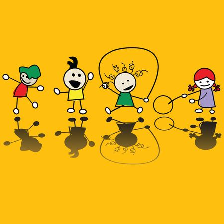 Happy children playing games, vector art photo
