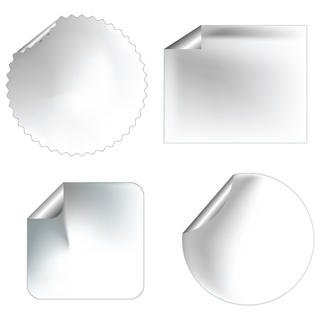 blanc: Realistic blanc stickerslabels with pealed corners for commercial use