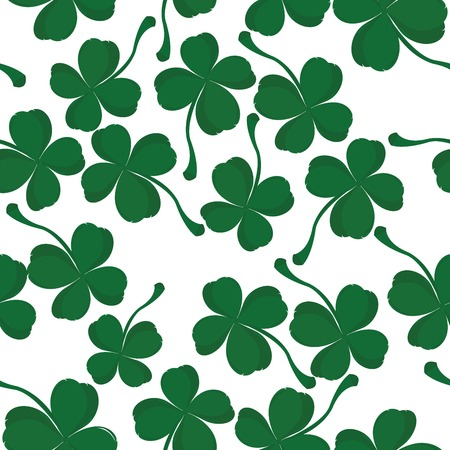 lucky clover: Four leaves clover pattern, background for Saint Patrick Day Illustration
