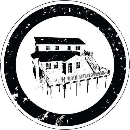 Stylized vector stamp with a rustic inn Vector